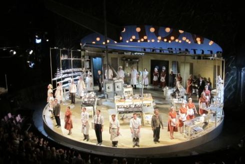 Cast and set of The Kitchen in the National's Olivier.