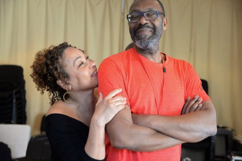 Martina Laird and Lenny Henry in rehearsal for King Hedley II