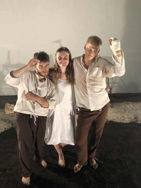 The cast of Woyzeck - Chris Born, Lucy Sherry, Saul Barrett